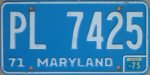 1975 Maryland car license plate
