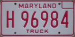 1976 Maryland truck license plate
