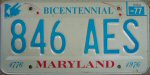1977 Maryland Bicentennial license plate