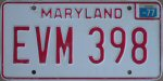 1977 Maryland standard car license plate